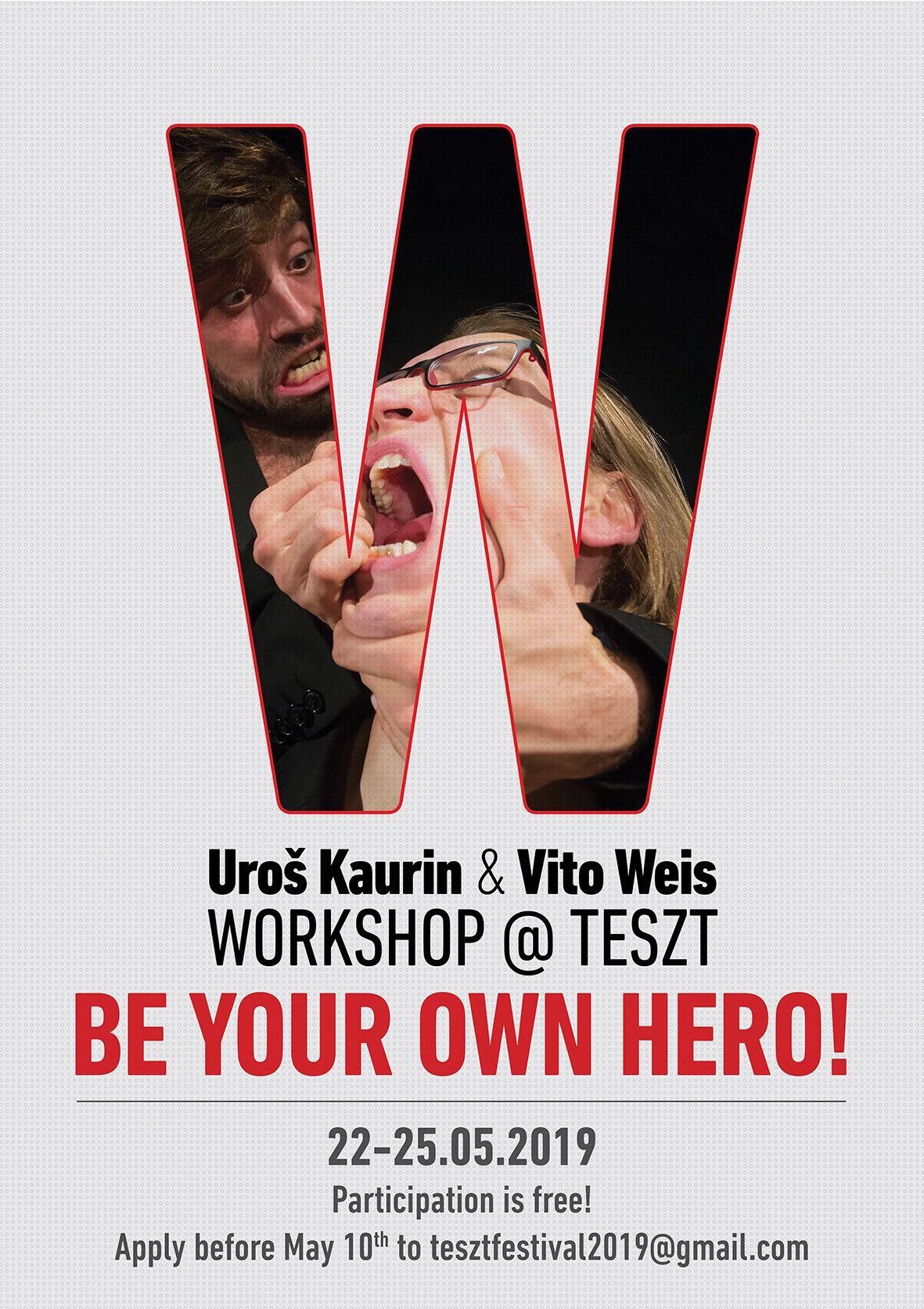 Atelier de actorie cu Vito Weis & Uroš Kaurin la TESZT – Fii propriul tău erou!